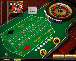 Screenshot of a French Roulette Table